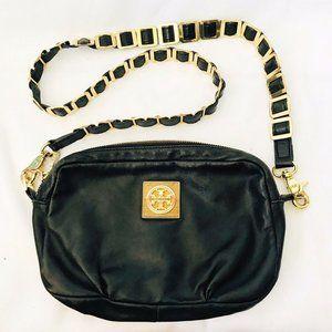 Tory Burch Black Leather Crossbody Bag Purse Gold